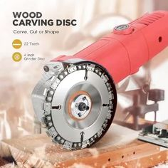 Wood Carving Chain Disc - Peter K. BUY 3 GET OFF CODE: This Carving Chain Disc takes the muscle work out of cutting, carving, removing and sculpting of wood, plastics, ice - Electric Chainsaw, Wood Carving Tools, Best Wood For Carving, Wood Carving Designs, Garage Tools, Angle Grinder, Diy Tools, Hand Tools, Homemade Tools