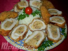 Rántott, töltött karaj recept Penne, Sausage, Meat, Chicken, Food, Sausages, Essen, Meals, Yemek