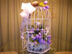 Wedding table bird cage decoration: Made by me to sit on my sister's guest book signing table (10/11/14)