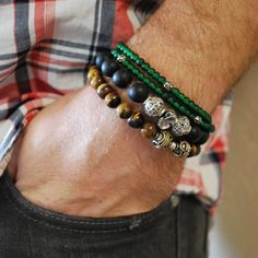 STYLE TIP:  When stacking your bracelets don't be afraid to add a punch of color.  --- FOLLOW US ON PINTEREST for Style Tips, Men's Basics,  Men's Essentials on anything, OUR SALES etc... ~   VujuWear