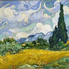 """In 1889, Van Gogh wrote a letter from the asylum in Saint-Rémy to his brother Theo describing this work: """"I have a canvas of cypresses with a few ears of wheat, poppies, a blue sky, which is like a multicolored Scotch plaid."""" Van Gogh regarded this landscape as one of his """"best"""" summer canvases. Vincent van Gogh (Dutch, 1853–1890). Wheat Field with Cypresses, 1889."""