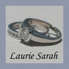Channel Set  and Half Bezel Set Diamond Engagement Ring with Matching Wedding Band in 14kt White Gold - LS565. $5,413.20, via Etsy.