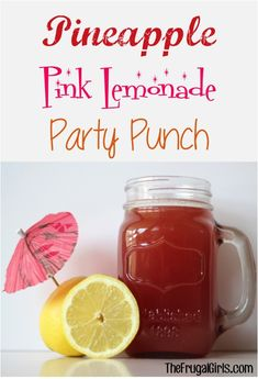 Pineapple Pink Lemonade Party Punch - perfect for your parties, showers, and weddings!