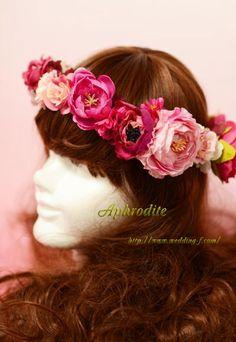 ハワイ挙式用「フューシャピンクの花冠」