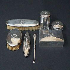 Rare Seven 7 Piece Shreve Co Hammered Sterling Silver Vanity Dresser Set