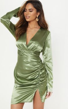 The Olive Satin Wrap Plunge Dress. Head online and shop this season's range of dresses at PrettyLittleThing. 15 Dresses, Tight Dresses, Satin Dresses, Silk Dress, Sexy Dresses, Latest Dress, New Dress, Plunge Dress, Dress Robes