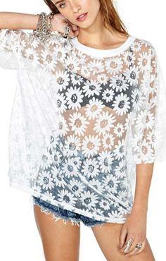 Fashion White Daisy Print See-through Loose Chiffon Casual T-shirt