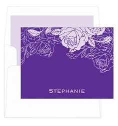 Purple Woodcut Foldover Note Cards