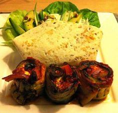Courgette/aubergine rolletjes met feta en een groene salade-wrap