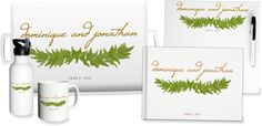 Personalized wedding garland tray, whiteboard, foil guest book, water bottle and mug