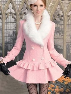 pale pink fur lining Kawaii Fashion, Pink Fashion, Tweed Overcoat, Rosa Style, Pink Wool Coat, Mode Rose, Fashion Vestidos, Girl Outfits, Cute Outfits