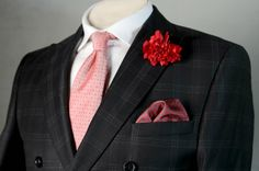 Pocket square Classic red silk in tiny white paisley by ASDFstyle