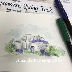 Class 2, project 2! #artimpressions #aistamps #marvyleplumeii #watercolorstamping Watercolor Video, Watercolor Cards, Watercolor Paintings, Painting Lessons, Painting & Drawing, Water Color Markers, Flower Art, Flower Ideas, Art Impressions Stamps