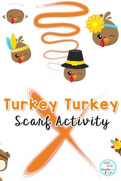 """Preschool and Kindergarten fun with scarves! Gobble Gobble! It's Thanksgiving Turkey scarf activity time. This TURKEY scarf activity video and presentation will keep your students busy moving during November Thanksgiving holiday excitement! Students can stand in their own space and use their scarves to follow the """"Turkey's"""" while exercising gross and fine motor muscles. Use the video in your virtual classrooms for November and Thanksgiving movement activities. Perfect for K-3 students. Kindergarten Music Lessons, Preschool Music Activities, Movement Preschool, Movement Activities, Elementary Music, Elementary Schools, November Thanksgiving, Music And Movement, Brain Breaks"""