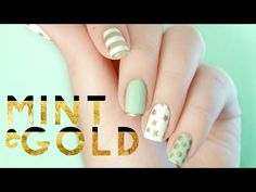 Mint & Gold Nail Art | Inspired by Target Sugar Paper Holiday Gift Wrap - YouTube