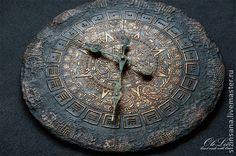 Майянское золото - золотой,часы на стену,майя,календарь майя,майянское золото