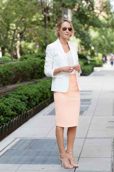 What to Wear to Work in the Summer - Start the week off with a professional bang: A pencil skirt in a summery color, a light blazer, and killer sandals.