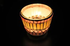 Stained glass mosaic art Candle holder for romantic by Psifida