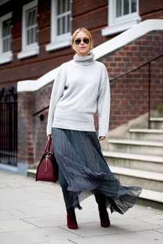 Pernille Teisback // aviator sunglasses, turtleneck sweater, burgundy bag, maxi skirt & burgundy boots #style #fashion #streetstyle #fall