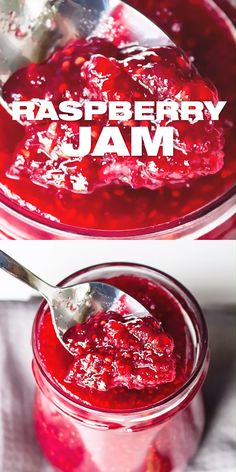 BEST Raspberry Jam Recipe - Homemade berry fruit jam with natural 3 ingredients only. Jelly Recipes, Fruit Recipes, Raspberry Recipes Healthy, Black Raspberry Recipes, Nutella Recipes, Jam Recipe Without Pectin, Homemade Jelly, Homemade Fruit Syrup Recipe, Fruit Jam