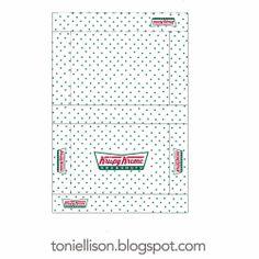 Free printable from Toni Ellison: Krispy Kreme Doughnut boxes & Coffee cups for Miniature Polymer Clay Food Tutorial