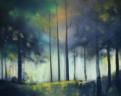 """Saatchi Online Artist: Isabelle Amante; Mixed Media, 2012, Painting """"Foggy night in the woods"""""""