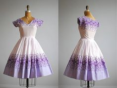 vintage 50's lilac embroidered fadeout cotton full skirt bombshell cupcake dress