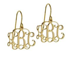 Trinkets By Tilly - Personalised Jewellery and Name Necklaces - 18K Yellow Gold Plated Sterling Silver Monogram Earrings - FREE GIFT BOX, AUD $44.40 (http://www.trinketsbytilly.com/18k-yellow-gold-plated-sterling-silver-monogram-earrings/)