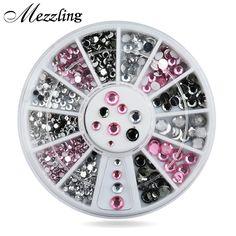 Hot Mix Rozmiary Przezroczysty Różowy Szary Glitter 3d Nail Art Rhinestone Dekoracje Koło DIY Beauty Nail Narzędzia