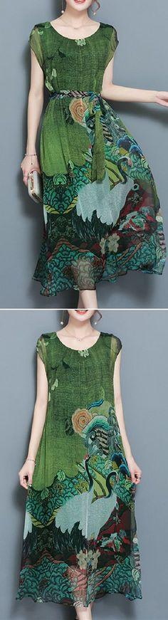 US$ 33.97 Women Vintage Printed Short Sleeve Mid-Long Dresses