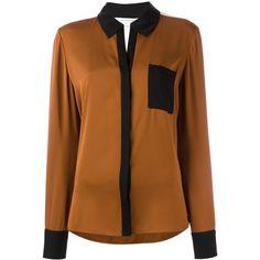 Diane Von Furstenberg 'Carter' shirt ($293) ❤ liked on Polyvore featuring tops, brown, diane von furstenberg, brown shirts, shirt top, brown top and diane von furstenberg shirt