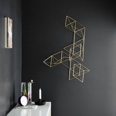 Large Brass Abstract Himmeli no. 1 / Abstract Wall Sculpture / Geometric Modern / Minimalist Home Decor.185