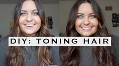 diy toning my hair at home! brunette at home toning hair- how to grow your hair out- how to get rid of your hair dye. how to get rid of brassiness orangey color in brunette hair. www.elabobak.com