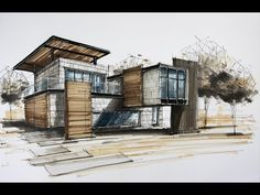 architecture sketching house 8 - From the series of House sketches, this sketch uses a limited color palete. Interior Architecture Drawing, Architecture Drawing Sketchbooks, Architecture Concept Drawings, Modern Architecture House, Facade Architecture, Modern House Design, House Sketch Design, Modern Houses, Architectural Drawings