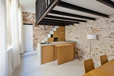 Magnificent Rectangular Studio Design with Modern Interior: Minimalist Kitchen With Island Of Transformatin Of A Studio Into A Loft Complete...