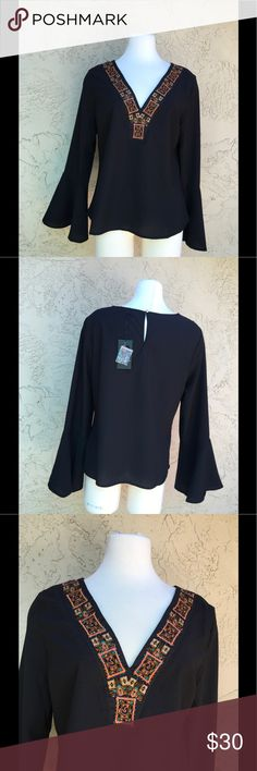 """🆕 Pastel V-Neck Embroidery Beads Black Blouse New With Tag Bell  Sleeves Pastel V-Neck Embroidery Beads Black Blouse, Measure 22"""" armpit to armpit 24"""" Length. Pastels Clothing Tops Blouses"""