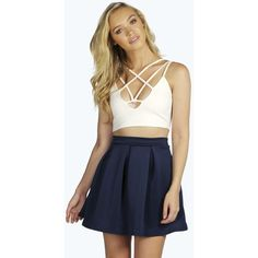 Boohoo Sophie Solid Colour Box Pleat Skater Skirt (€9,10) ❤ liked on Polyvore featuring skirts, navy, a line midi skirt, maxi skirt, midi skirt, navy maxi skirt and bohemian maxi skirt