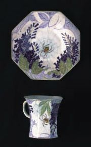 Rozenburg cup and saucer in the lilac and spider pattern | SOLD $1,870 Amsterdam 1999