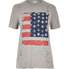 Grey studded flag print T-shirt - print t-shirts / vests - t shirts / vests…