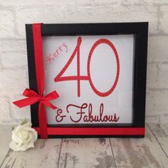Decorated with gemstones and glitter, this 40 & fabulous frame is the perfect birthday gift to give to someone special. More designs available, just take a look through my shop. 40 And Fabulous, Box Frames, I Shop, Birthday Gifts, Glitter, Gemstones, Random, Creative, Christmas