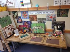 Pattern provocation: put a math,spelling, social science provocation on art counter Patterning Kindergarten, Kindergarten Activities, Teaching Math, Teaching Resources, Play Based Learning, Learning Through Play, Early Learning, Reggio Inspired Classrooms, Reggio Classroom