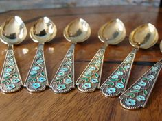 6 Kaffeelöffel Teelöffel Silber 875 CCCP Russland Vergoldet Emaille Moskau Etui