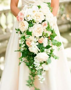 Elegant spring wedding at the tarrytown house nyc wedding ph Cascading Wedding Bouquets, Wedding Brooch Bouquets, Bride Bouquets, Bridal Flowers, Bridesmaid Bouquet, Mod Wedding, Floral Wedding, Wedding Colors, Wedding Ideas