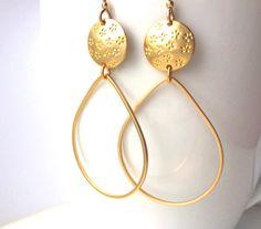 SALE!! Gold Hoop Earrings, Flower Hoop Gold Earrings, Large Hoop dangle Earrings, Lightweight Hoop Earrings