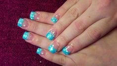 Aqua glitter acrylic nail tips with handpainted snowflakes