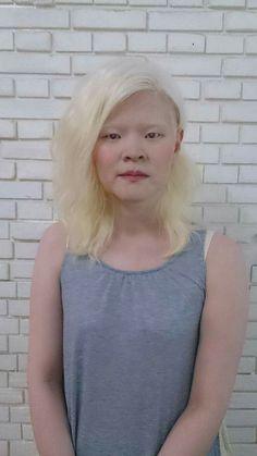 Asian albino white eyelashes hair skin people alternative fashion inspiration