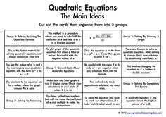 Quadratic Equations- The Main Ideas. A card sort to support conceptual understanding