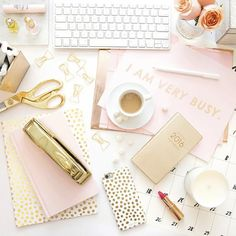 blush & gold + desk