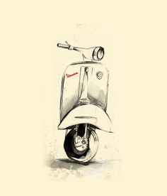 Vespa Art Print by Juan Alonzo Worldwide shipping available at Just one of millions of high quality products available Vespa Gts, Vespa Sprint, Vintage Vespa, Motos Vintage, Retro Vintage, Motos Vespa, Vespa Scooters, Scooter Scooter, Lambretta