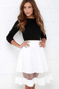 Sheer and Now Ivory Mesh Midi Skirt at Lulus.com!